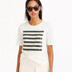 J Crew | Sequin Stripe T-Shirt